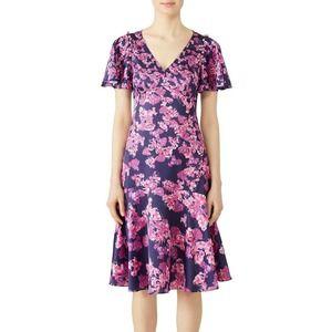 Prabal Gurung Navy Blooming Midi Dress 6 Flutter